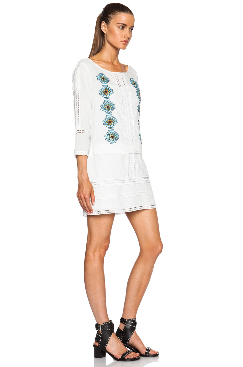 Image 3 of Pam & Gela Embroidered Dress in White