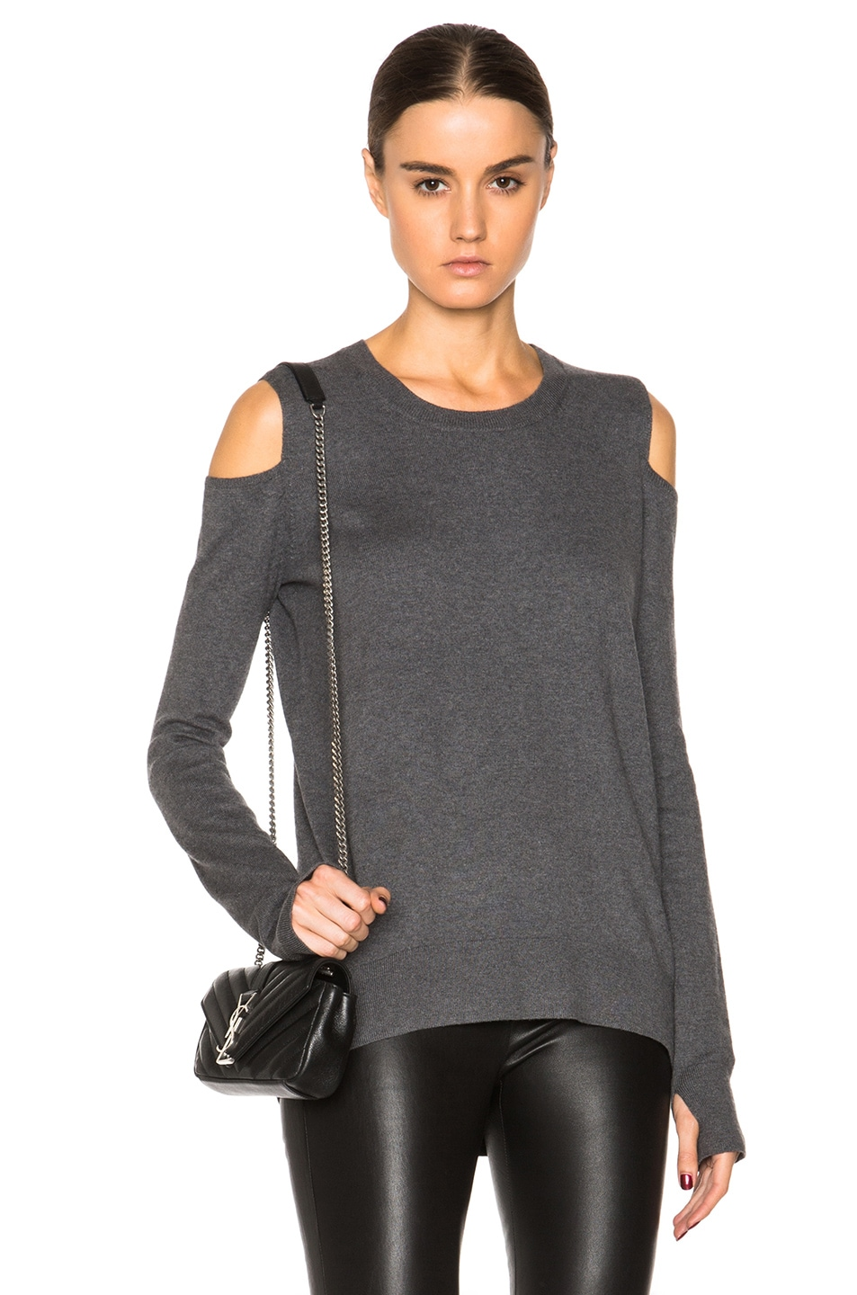 6bea435b7abf6 Image 1 of Pam   Gela Cold Shoulder Sweater in Charcoal Heather