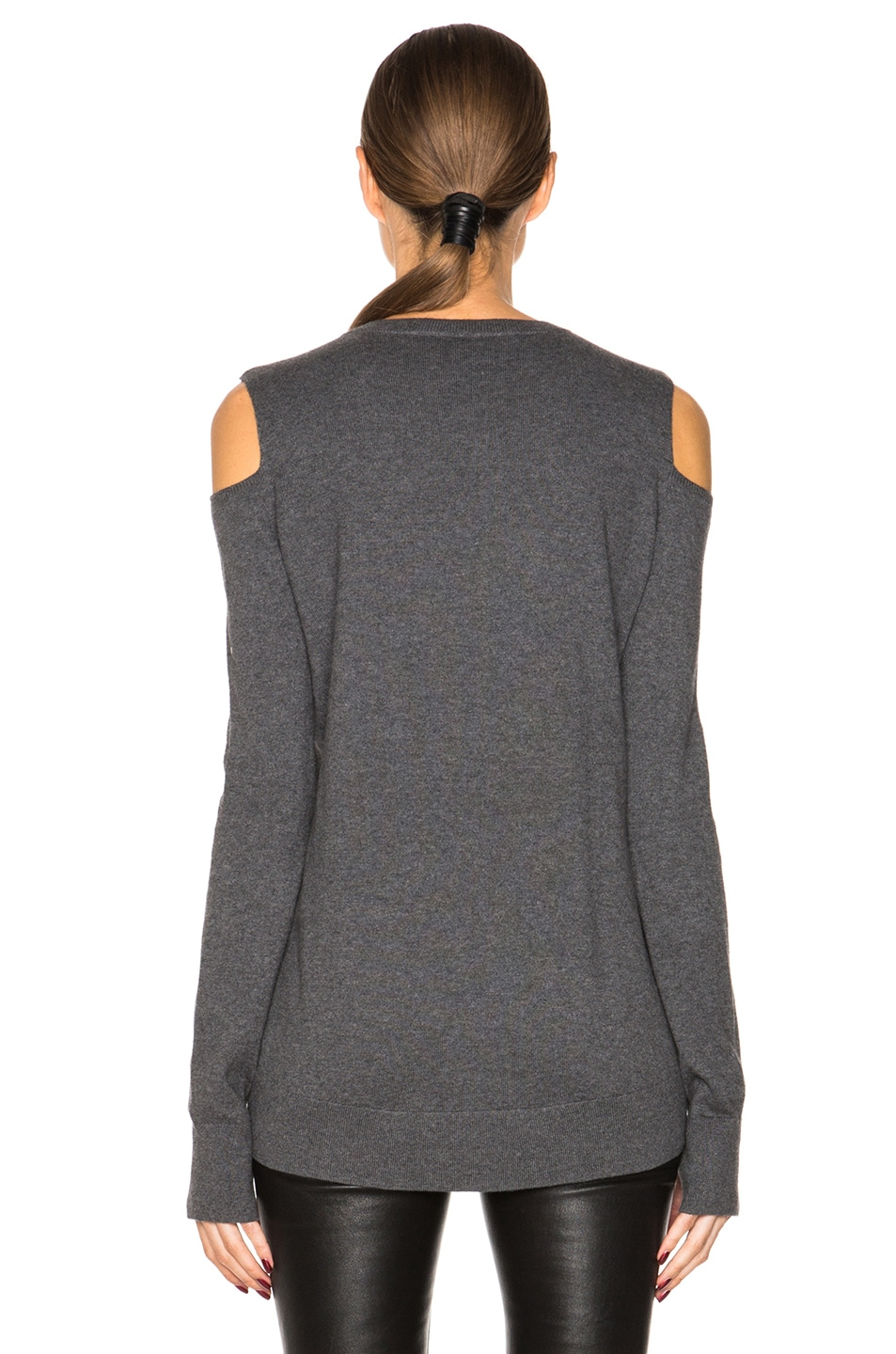385ed822b02de2 Image 4 of Pam   Gela Cold Shoulder Sweater in Charcoal Heather