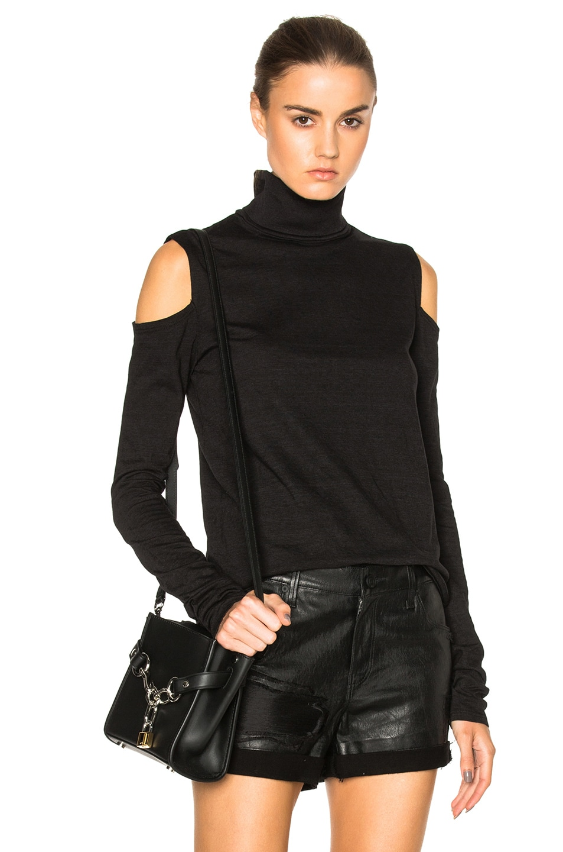 b375f40aea979 Image 1 of Pam   Gela Cold Shoulder Turtleneck Sweater in Black