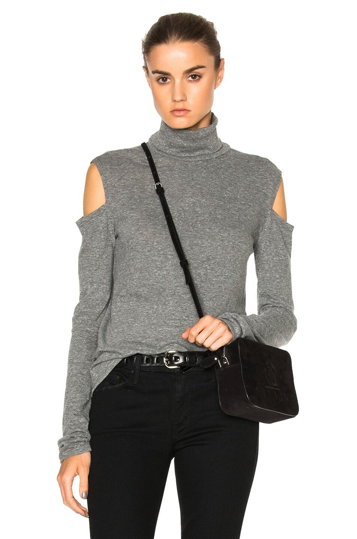 e524629215456 Image 1 of Pam   Gela Cold Shoulder Turtleneck Sweater in Heather Grey