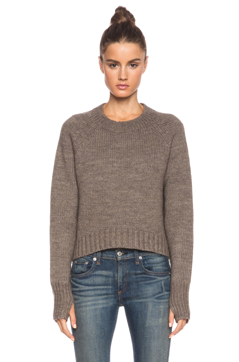 Image 1 of Pam & Gela Patches Crop Sweater in Brown