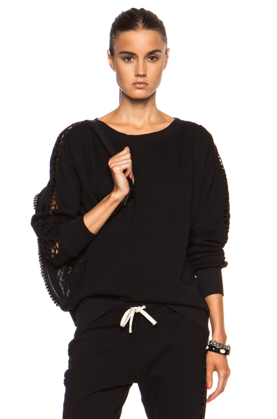 Image 1 of Pam & Gela Dolman Sleeve Cotton-Blend Sweatshirt with Lace Inserts in Black