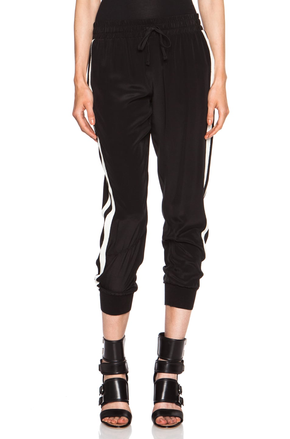 Image 1 of Pam & Gela Cropped Silk Pant in Black