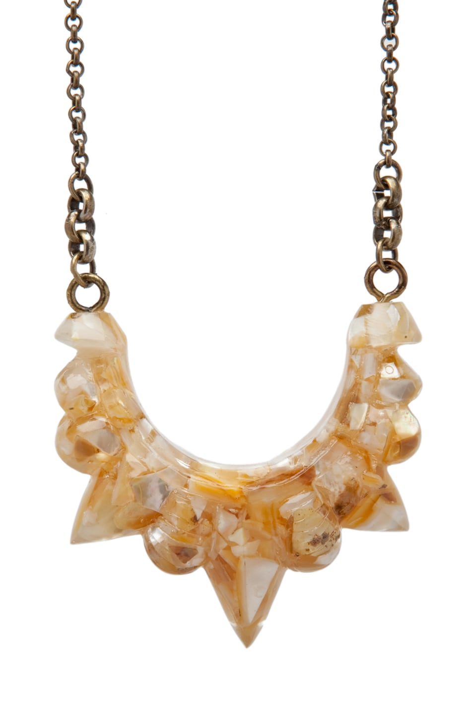 Image 2 of Pamela Love Resin Tribal Spike Necklace in Crushed Shell Resin
