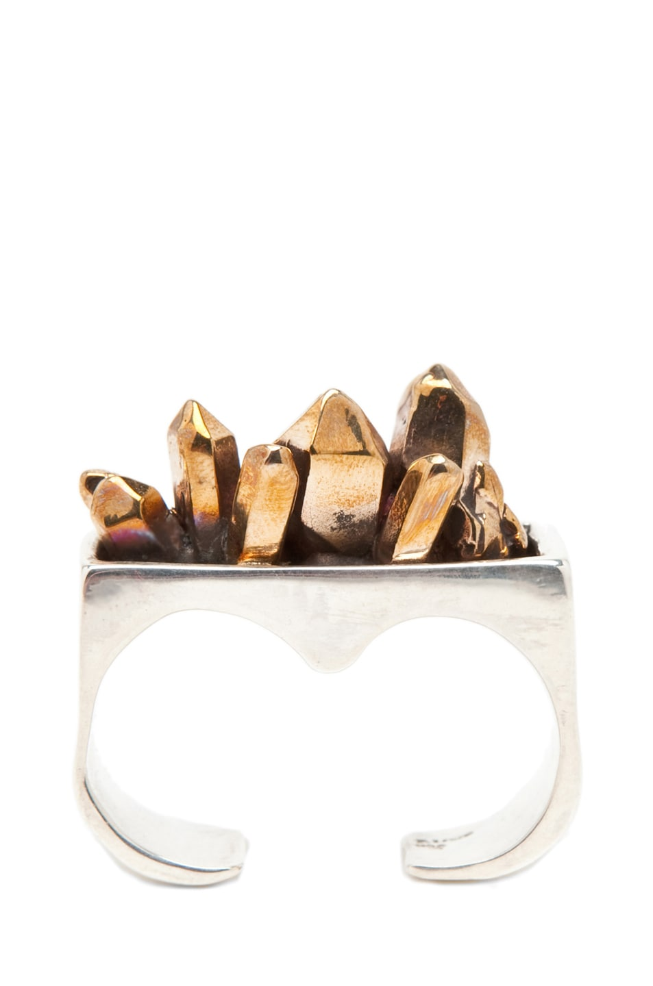 Image 1 of Pamela Love Double Finger Crystal Ring in Sterling Silver/Bronze