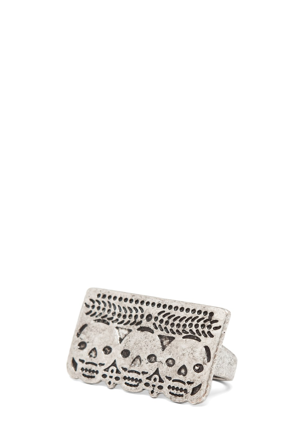 Image 1 of Pamela Love Day of the Dead Double Finger Ring in Antique Silver