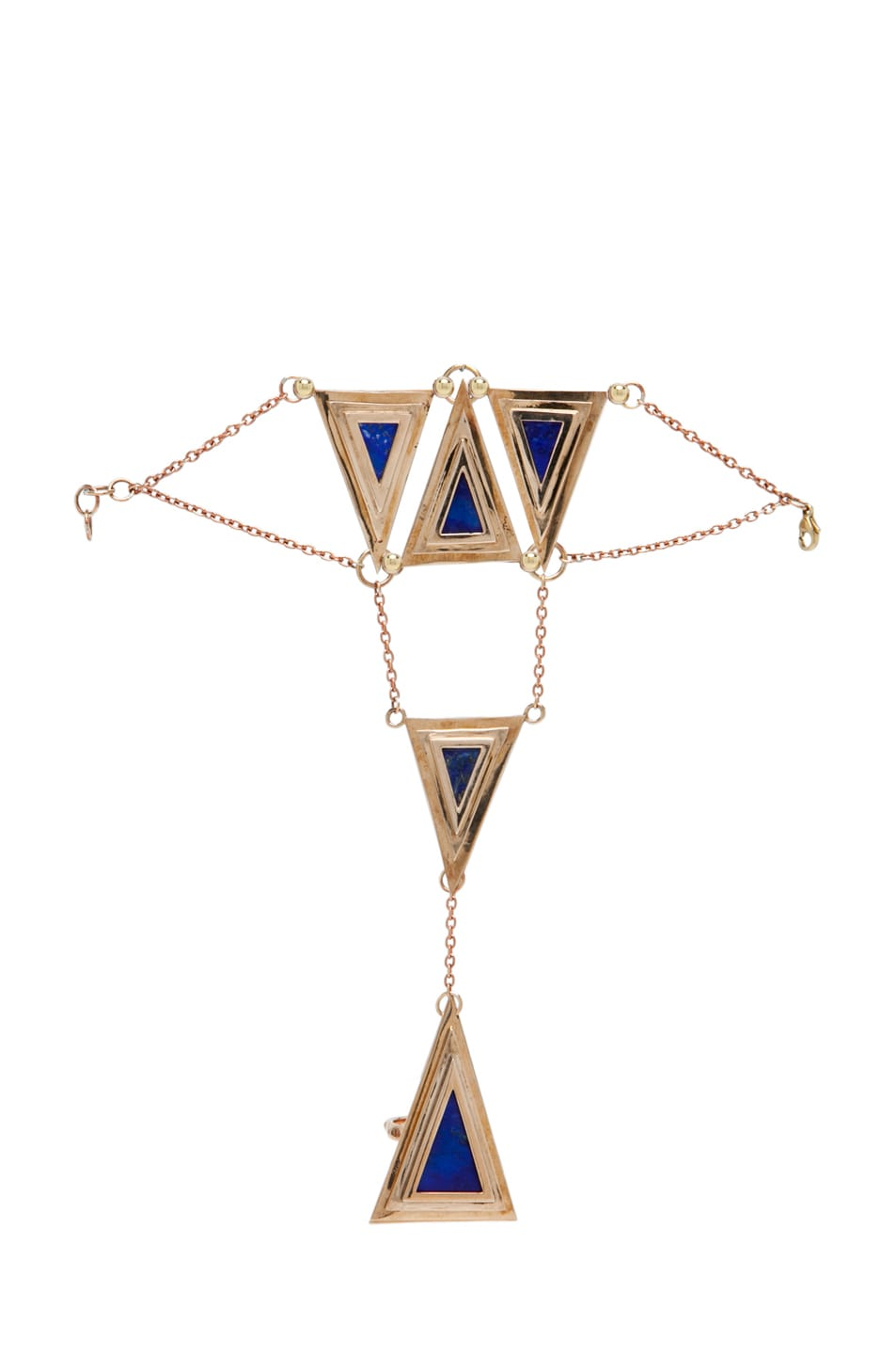 Image 1 of Pamela Love 5 Pyramid Lapis Hand Piece in Bronze