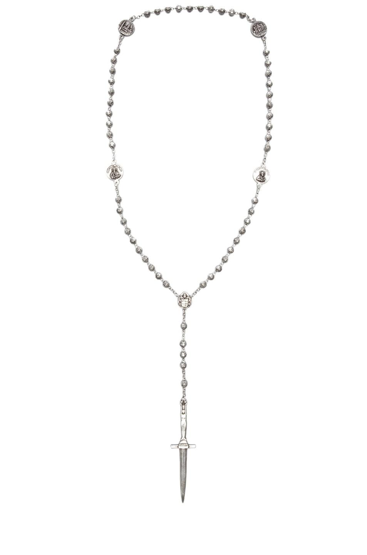 Image 1 of Pamela Love Oxidized Rosebud Dagger Rosary in Silver Over Bronze