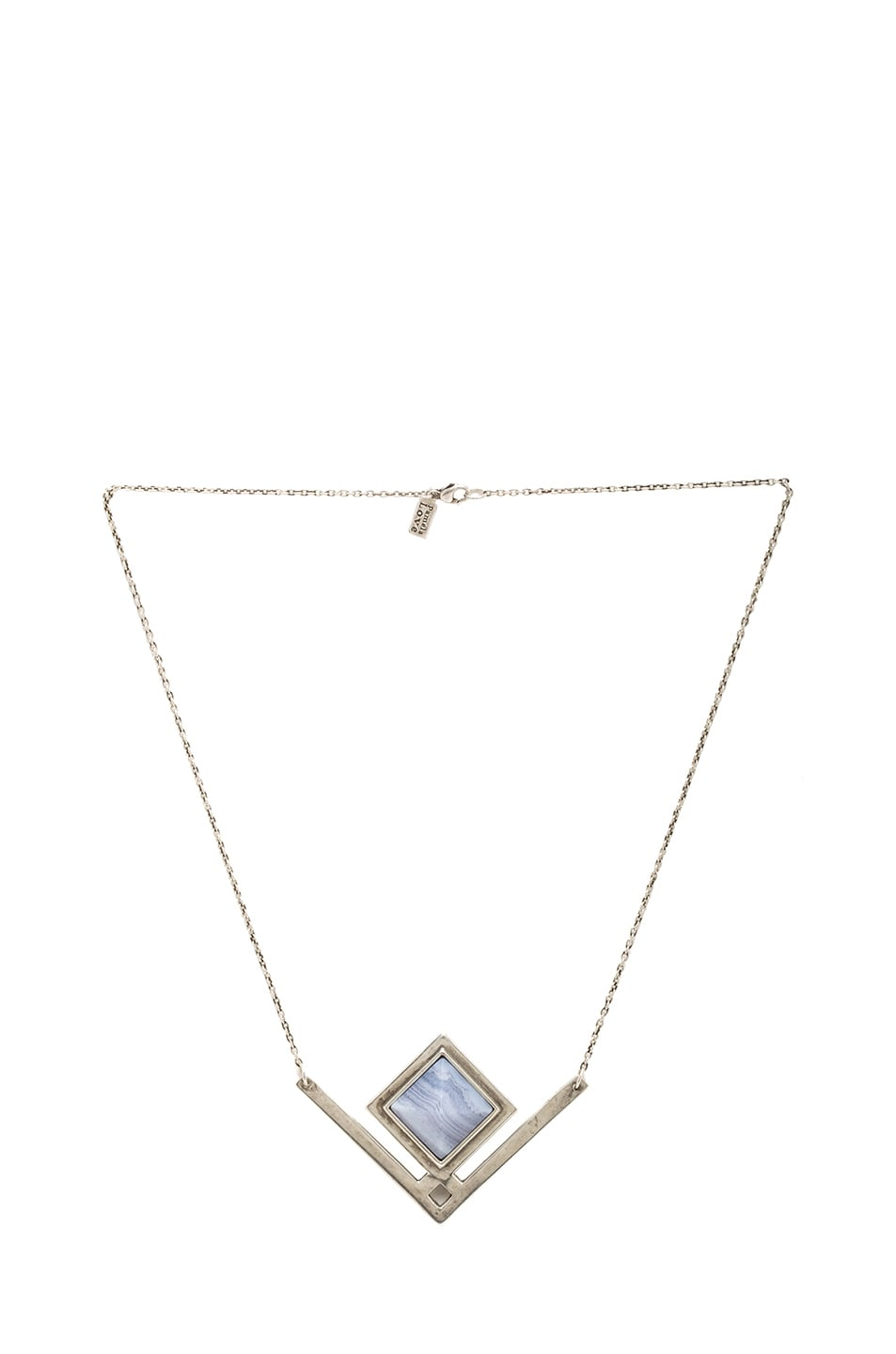 Image 1 of Pamela Love Rise Antique Plated Pendant Necklace in Blue Lace Agate
