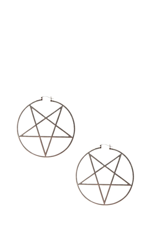 Image 1 of Pamela Love Small Pentagram Earrings in Antique Silver