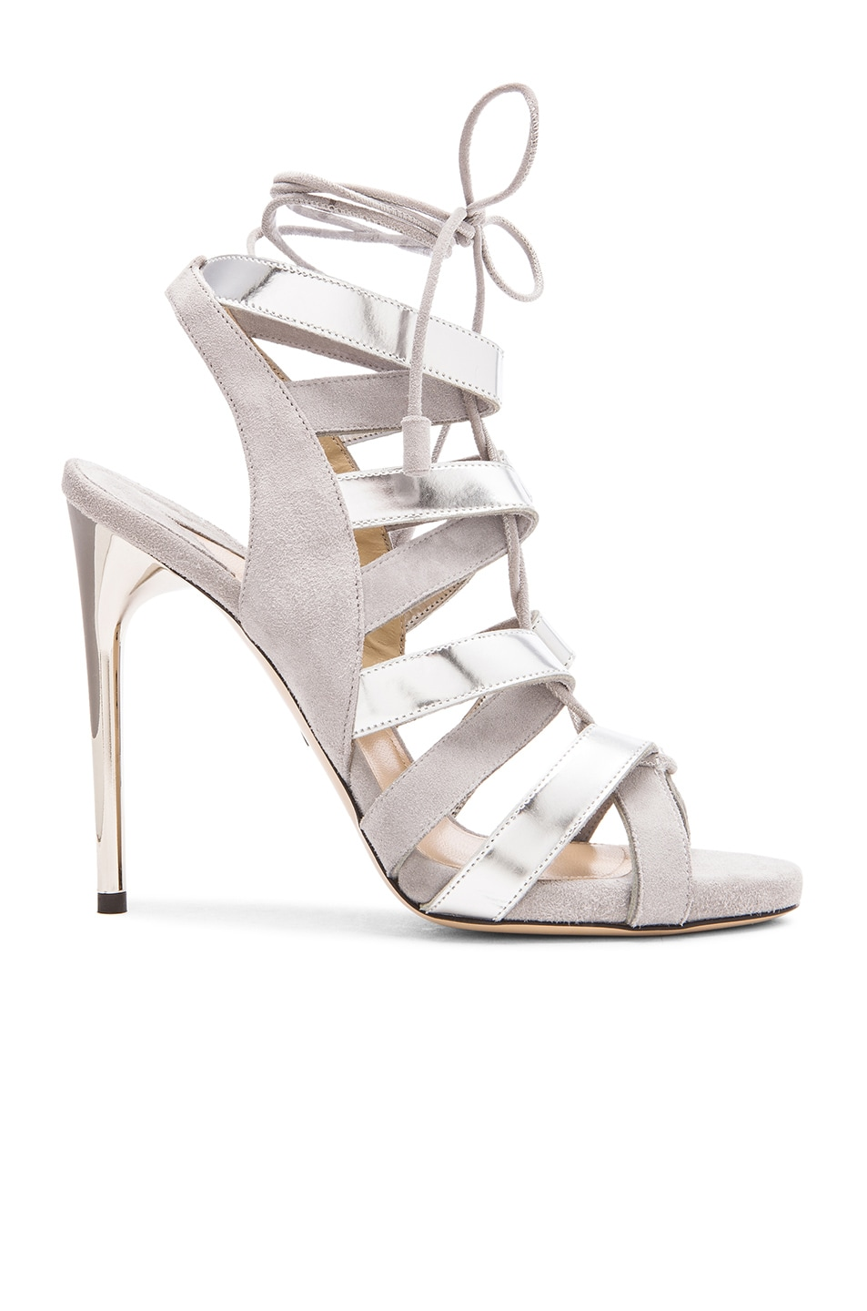 Image 1 of Paul Andrew Suede Tempest Heels in Grey & Silver