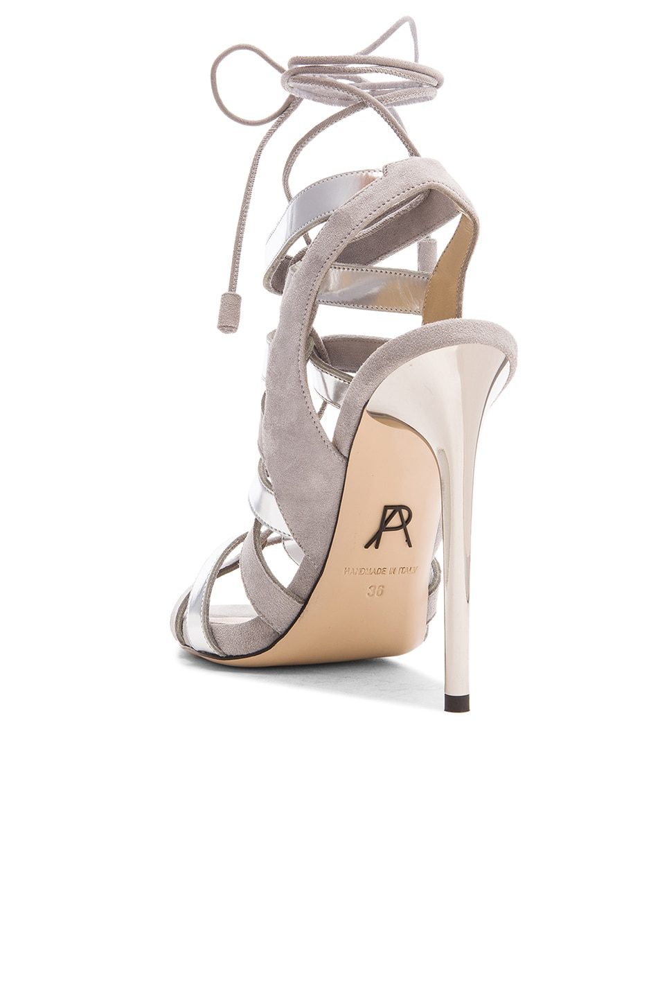 Image 3 of Paul Andrew Suede Tempest Heels in Grey & Silver