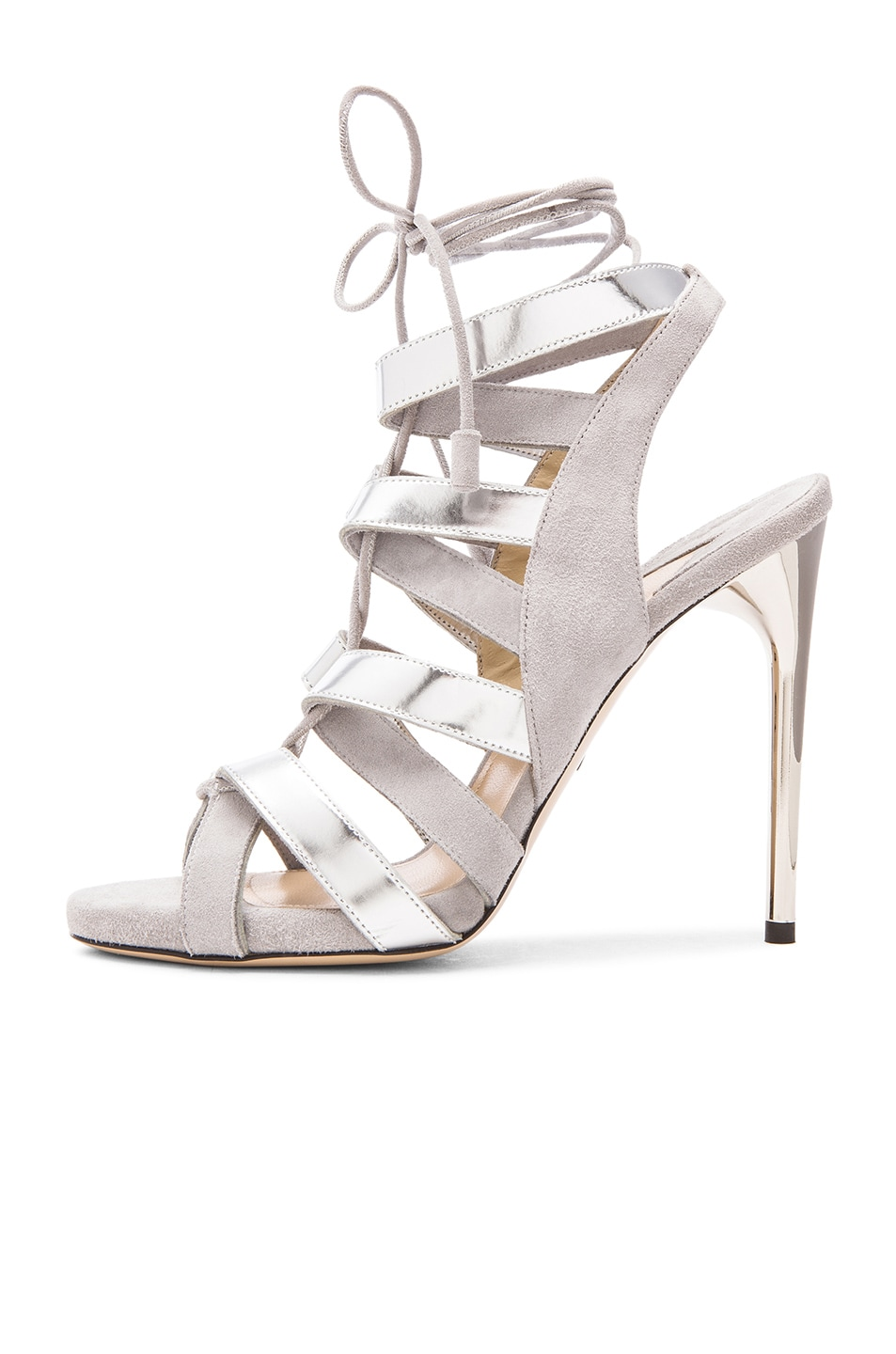 Image 5 of Paul Andrew Suede Tempest Heels in Grey & Silver