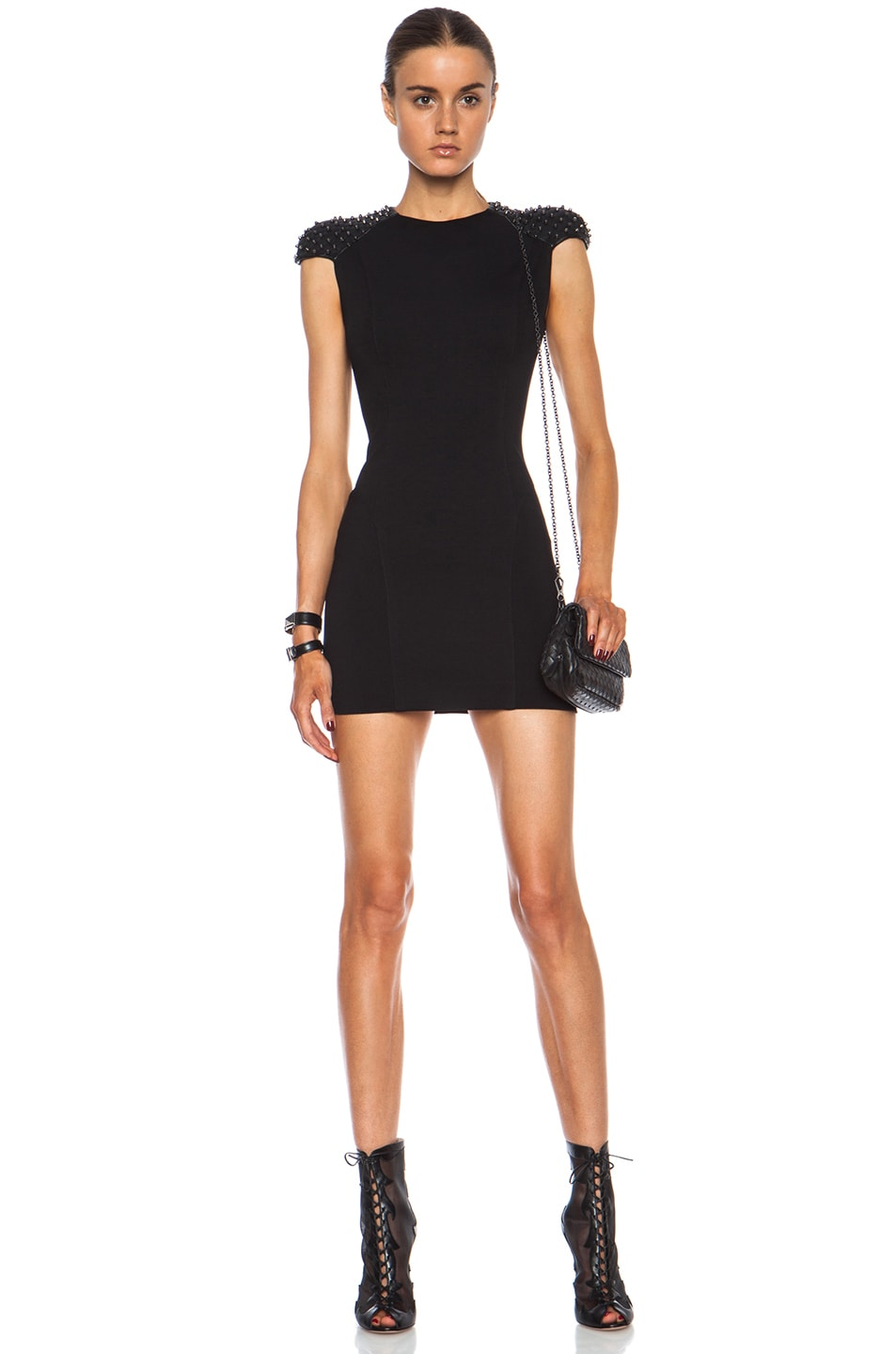 Image 1 of Pierre Balmain Embellished Viscose-Blend Dress in Black