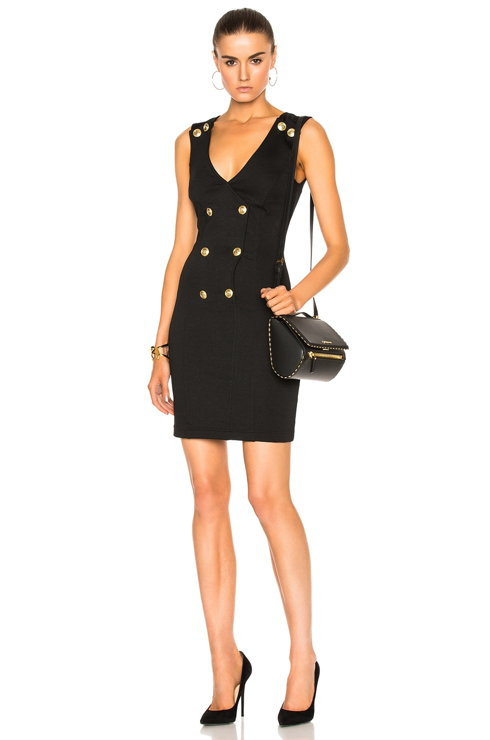 Image 1 of Pierre Balmain V-Neck Sleeveless Dress in Black