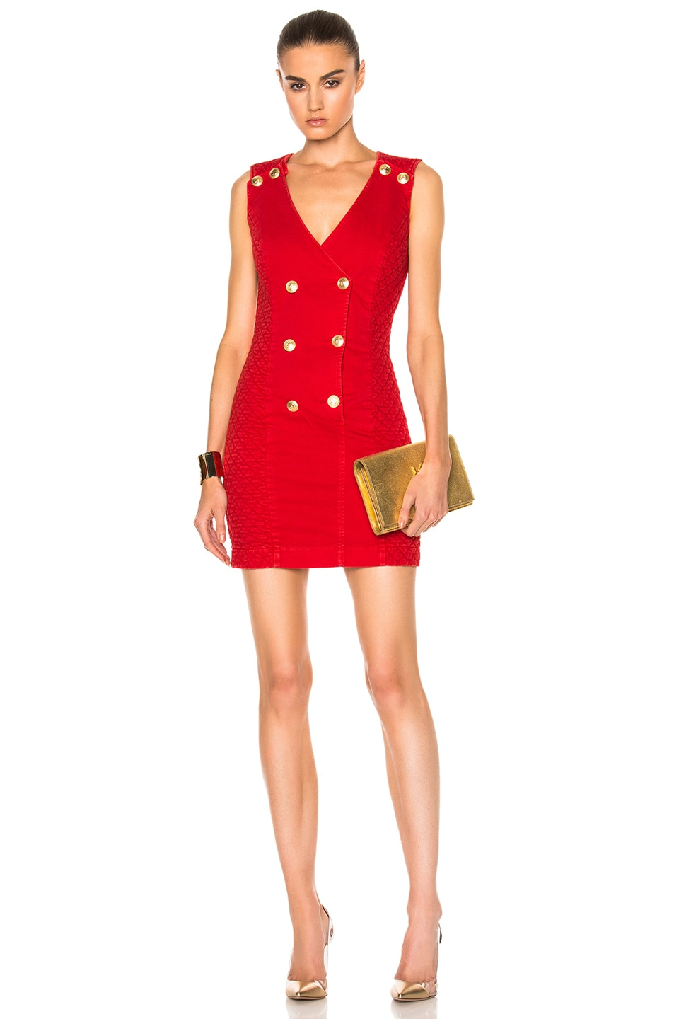 Image 1 Of Pierre Balmain Sleeveless Mini Dress In Red