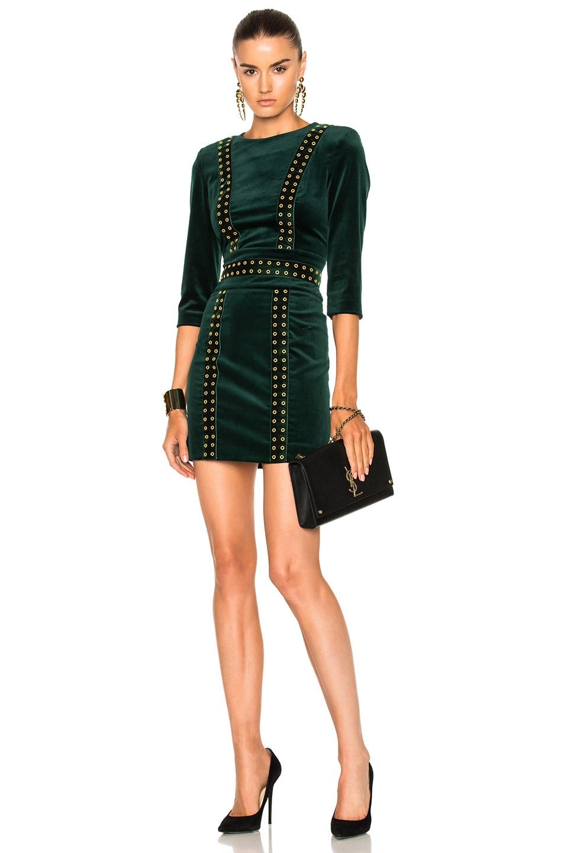 1e00168b Image 1 of Pierre Balmain Velvet Studded Dress in Green