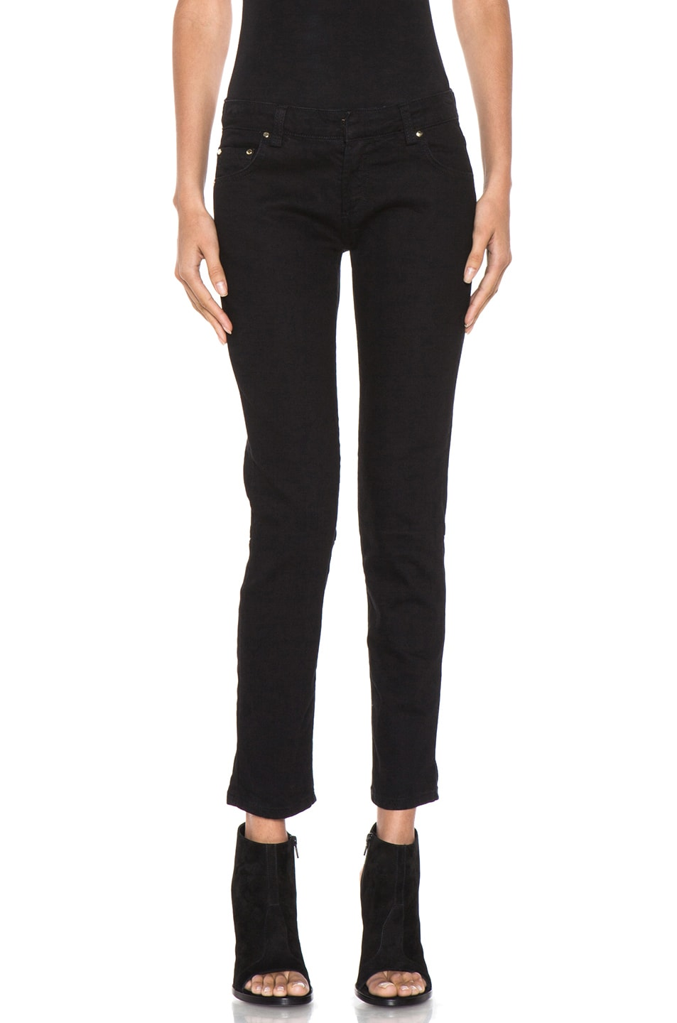 Image 1 of Pierre Balmain Lace Up Detailed Jean in Black