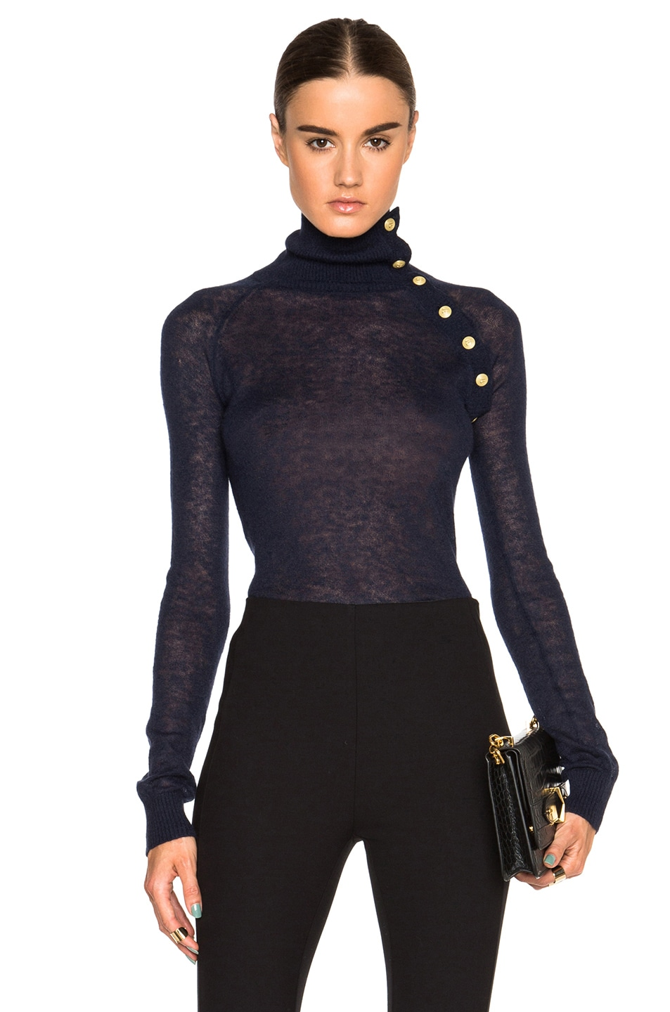 041728727872 Image 1 of Pierre Balmain Button Turtleneck Sweater in Blue Ink