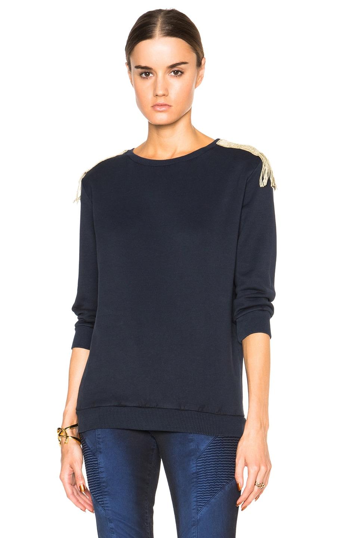 Image 1 of Pierre Balmain Embellished Shoulder Sweater in Blue Navy