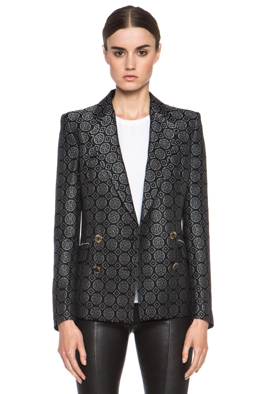 Image 1 of Pierre Balmain Brocade Acetate-Blend Blazer in Black