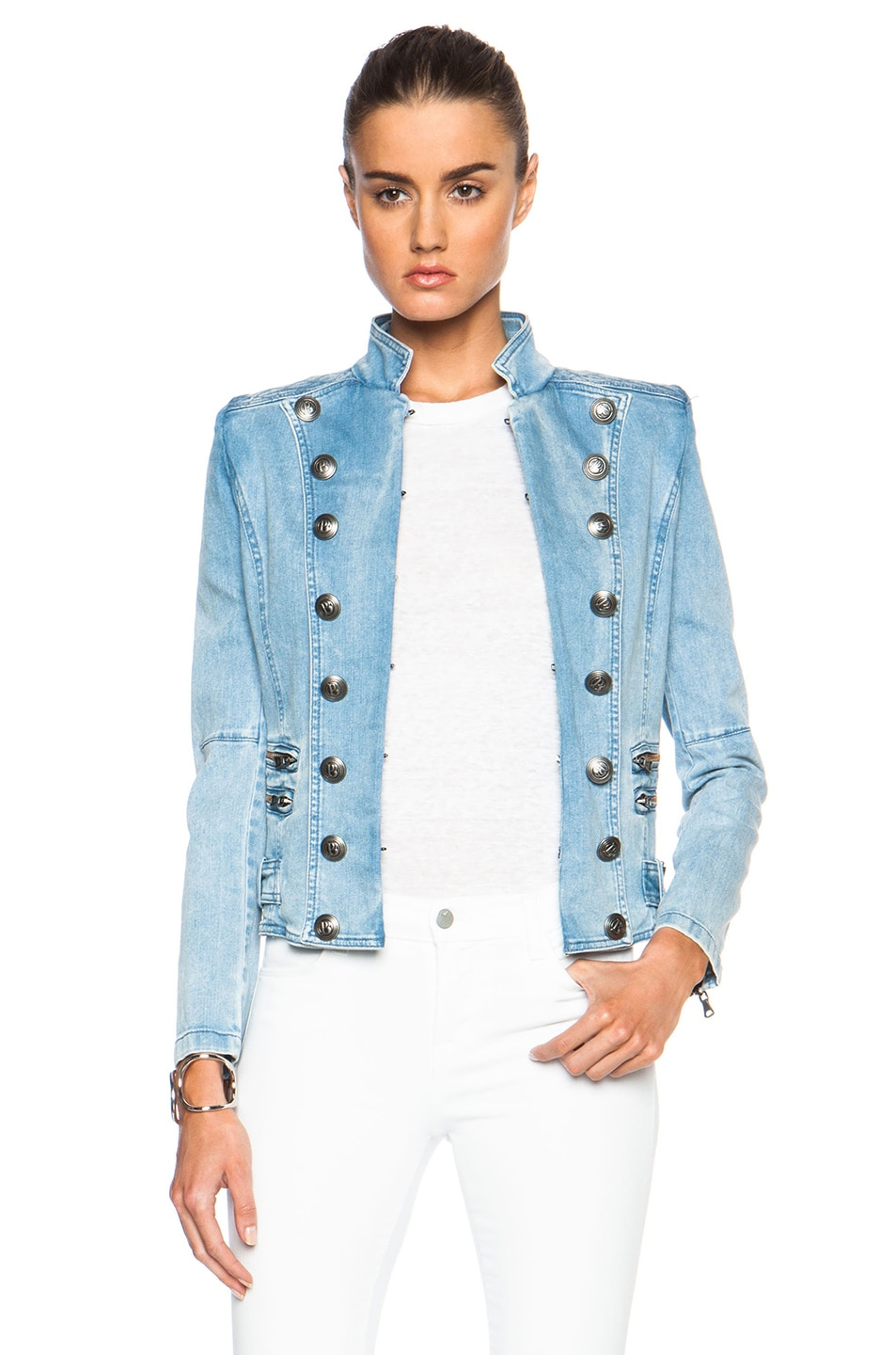 e4b13704d1b Image 1 of Pierre Balmain Denim Military Jacket in Blue