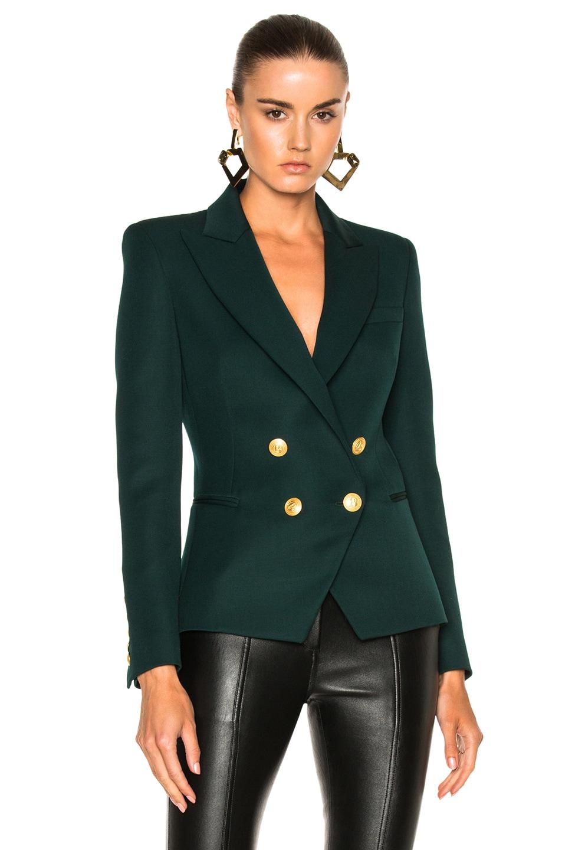 f95181495e7ca Image 1 of Pierre Balmain Double Breasted Blazer in Green