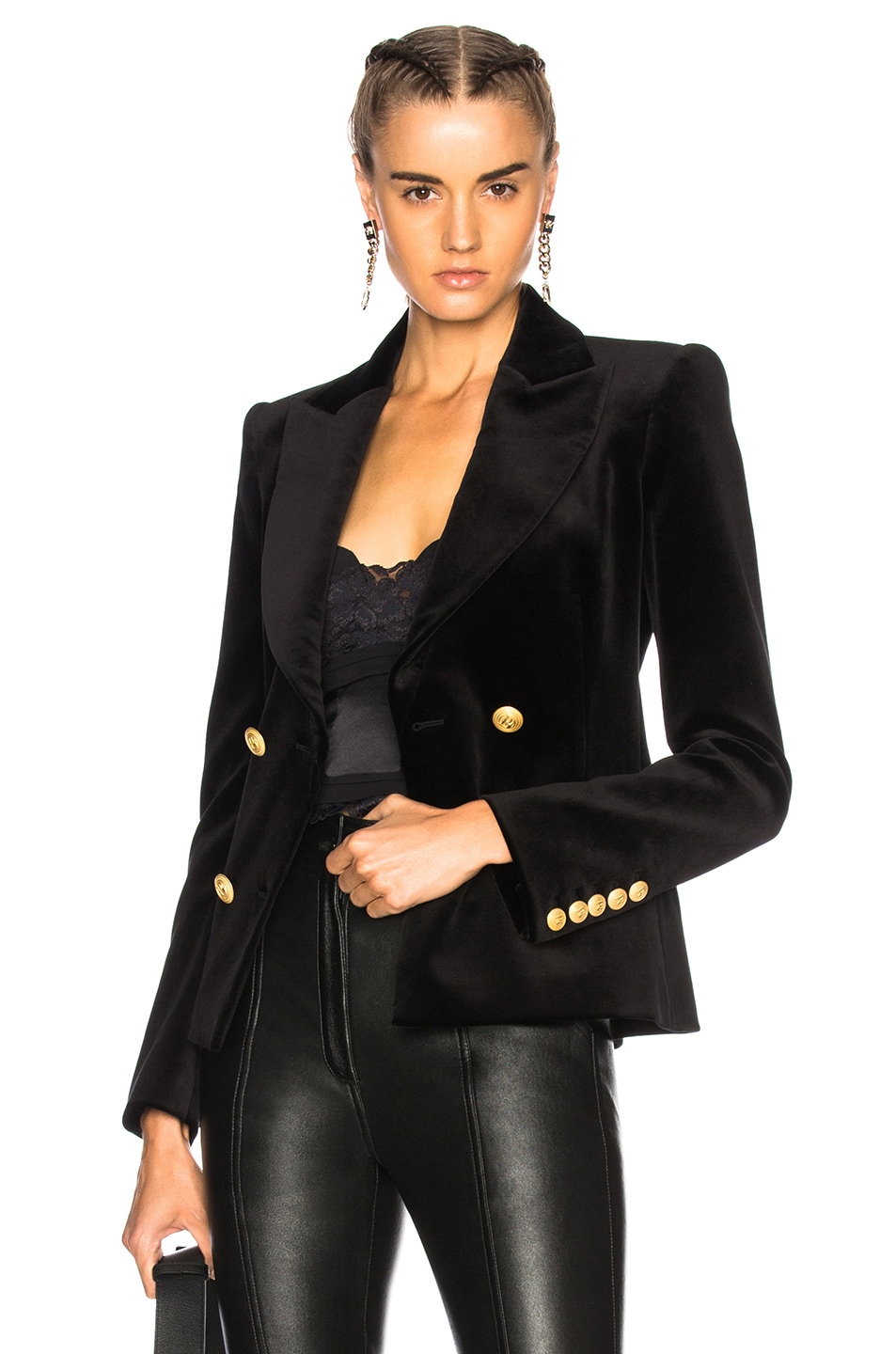 fa699475 Image 1 of Pierre Balmain Velvet Double Breasted Blazer in Black