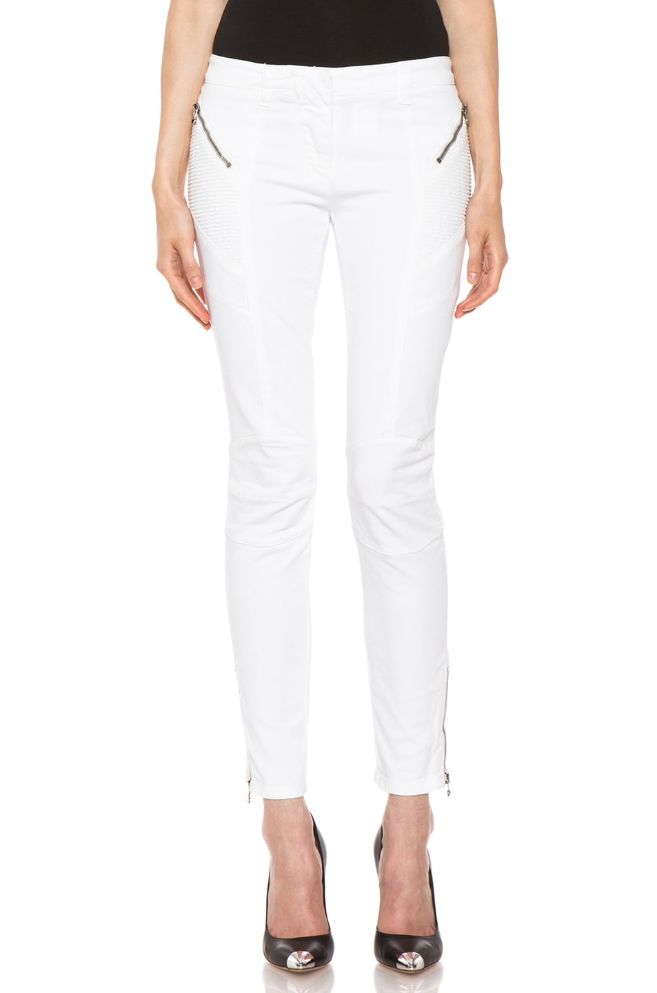 1d672c4e0cd Image 1 of Pierre Balmain Biker Cotton Pants in White