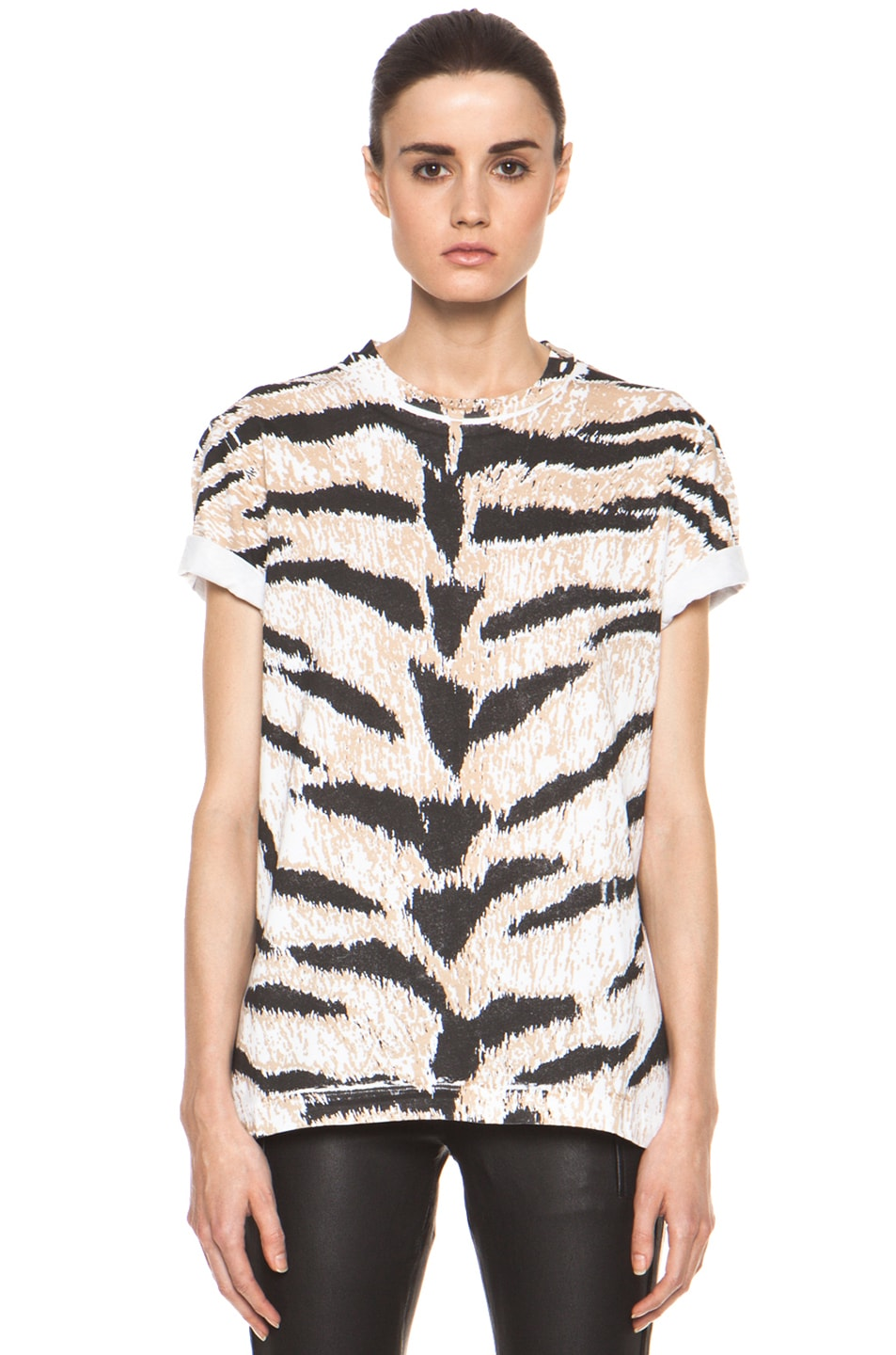 Image 1 of Pierre Balmain Tiger Print Tee in Brown Multi