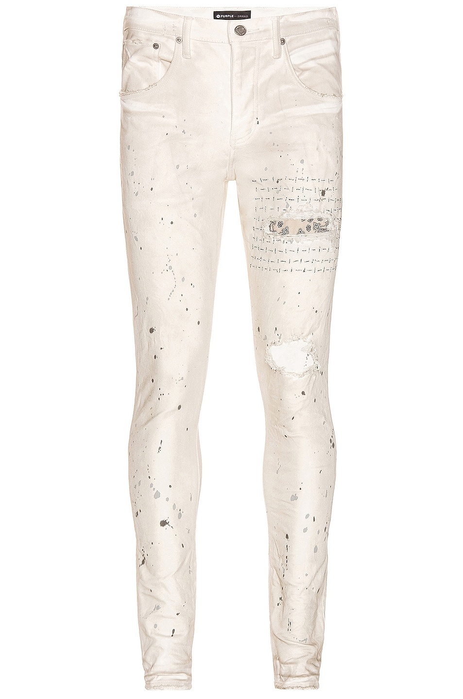Image 1 of Purple Brand Bandana Patch Pocket Jeans in White