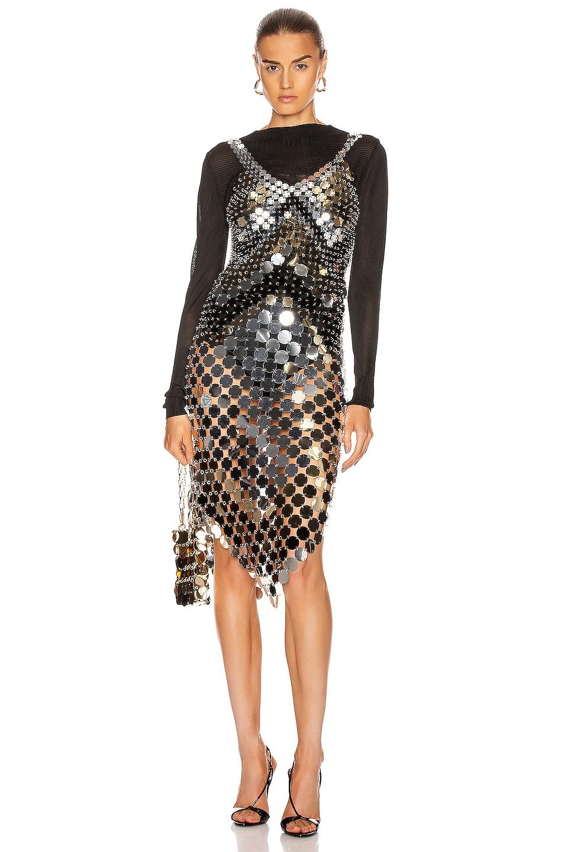Image 1 of PACO RABANNE Sparkle Metallic Midi Dress in Black, Light Gold & Silver