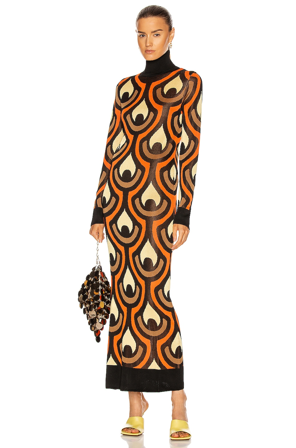 Image 1 of PACO RABANNE Long Sleeve Patterned Dress in Black, Yellow, & Brown