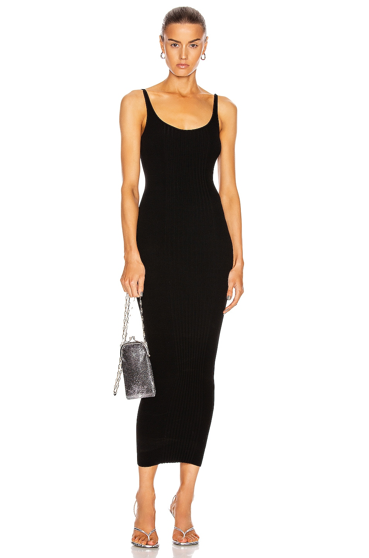 Image 1 of PACO RABANNE Rib Sleeveless Maxi Dress in Black