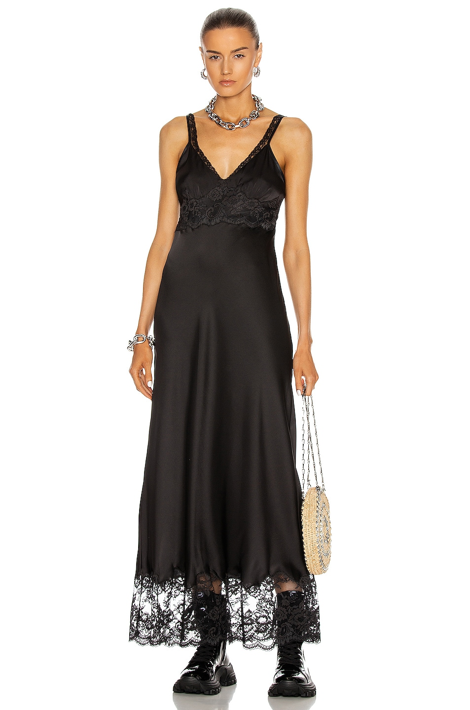 Image 1 of PACO RABANNE Lace Trim Dress in Black