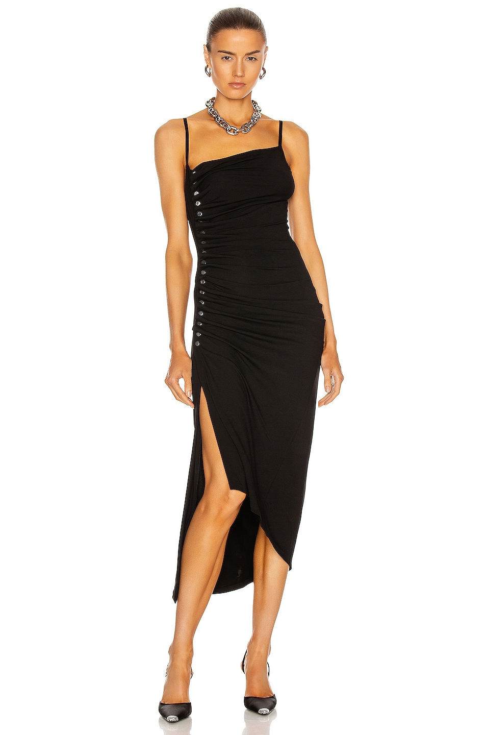 Image 1 of PACO RABANNE Button Down Ruched Dress in Black