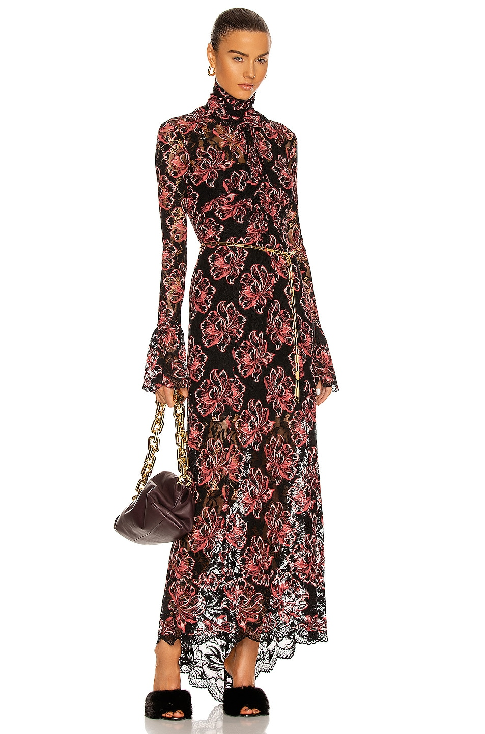 Image 1 of PACO RABANNE Gathered Lace Maxi Dress in Stretch Flower