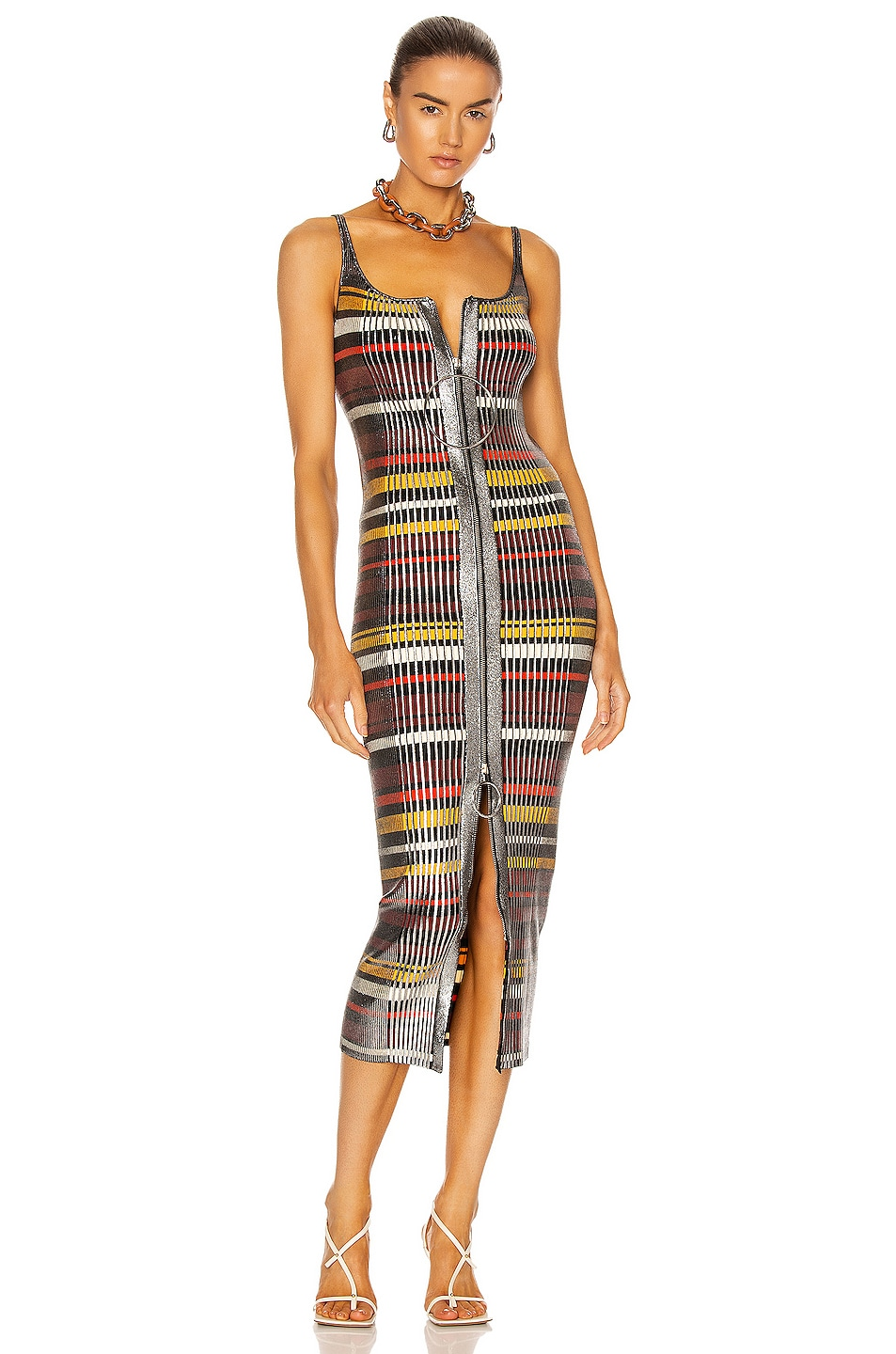 Image 1 of PACO RABANNE Striped Zip Dress in Silver Multicolor Stripe