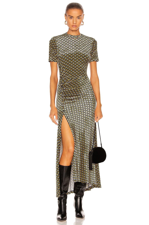 Image 1 of PACO RABANNE Ruched Midi Dress in Navy Feminin 70's