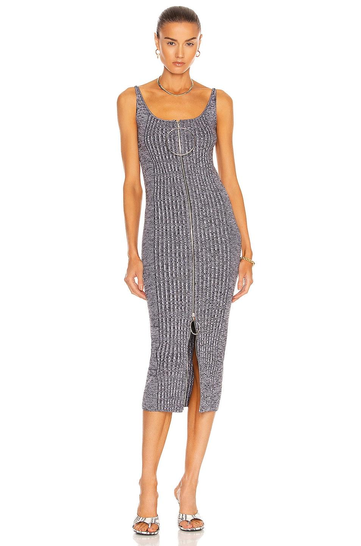 Image 1 of PACO RABANNE Sleeveless Knit Midi Dress in Black & White