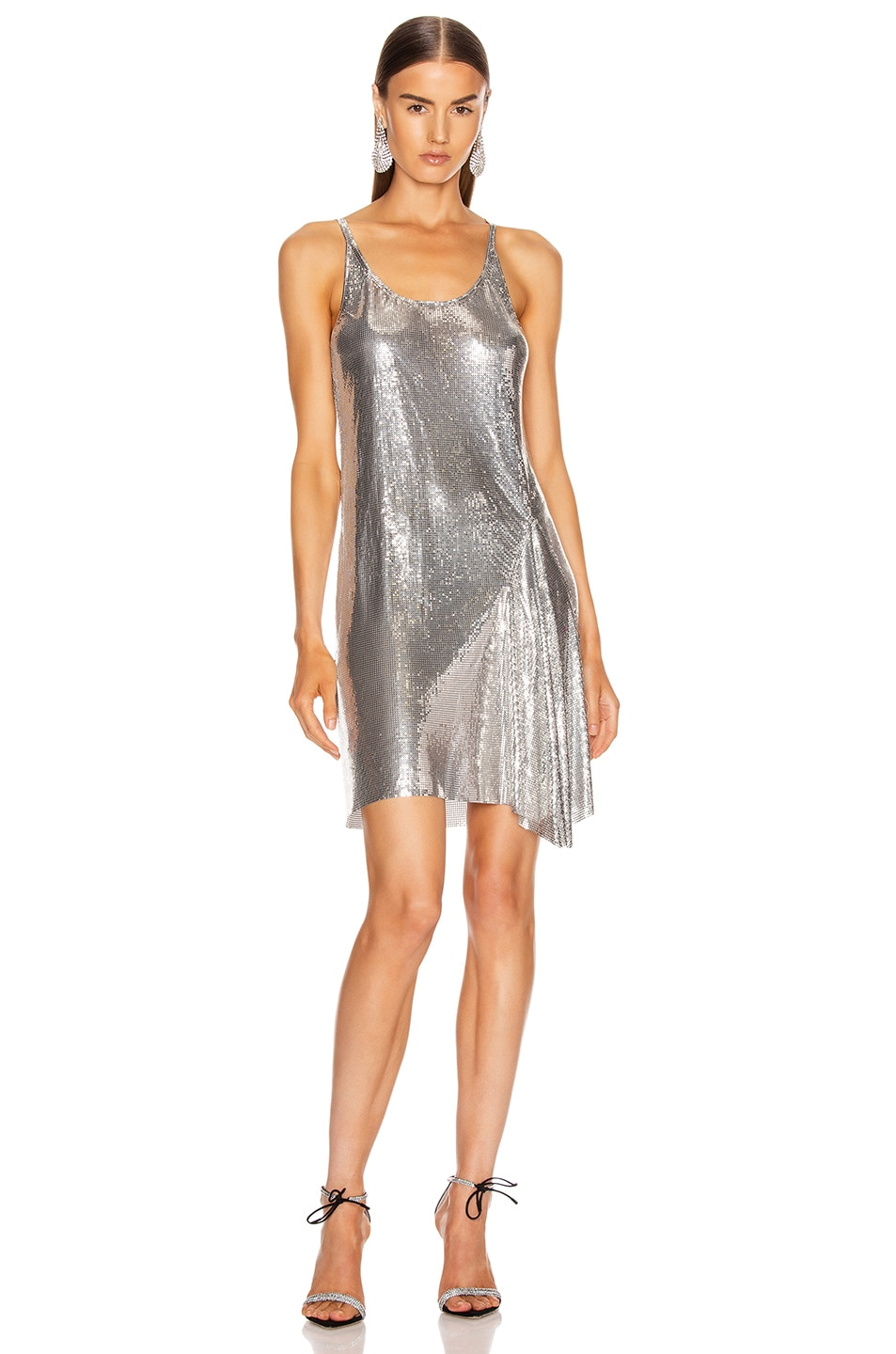 Image 1 of PACO RABANNE Mesh Tank Mini Dress in Silver
