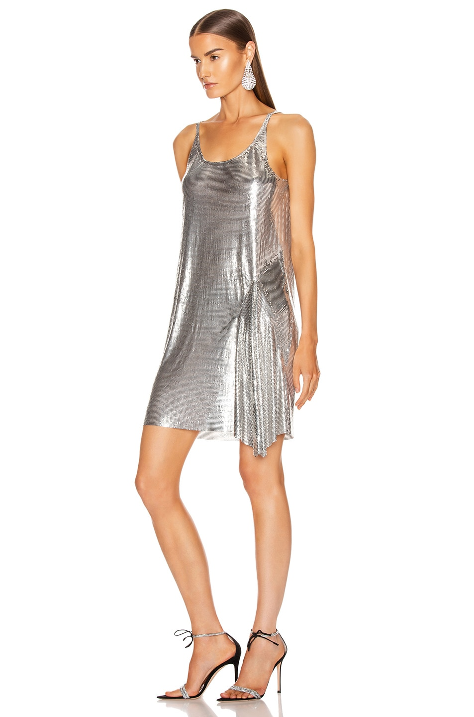 Image 3 of PACO RABANNE Mesh Tank Mini Dress in Silver