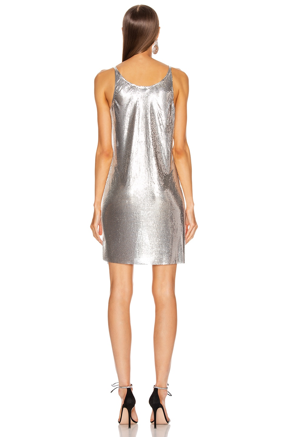 Image 4 of PACO RABANNE Mesh Tank Mini Dress in Silver