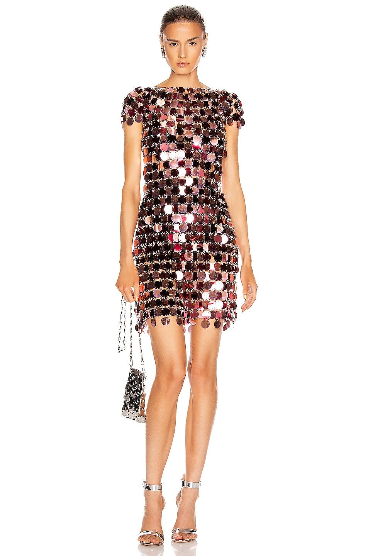 Image 1 of PACO RABANNE Sequin Mini Dress in Burgundy