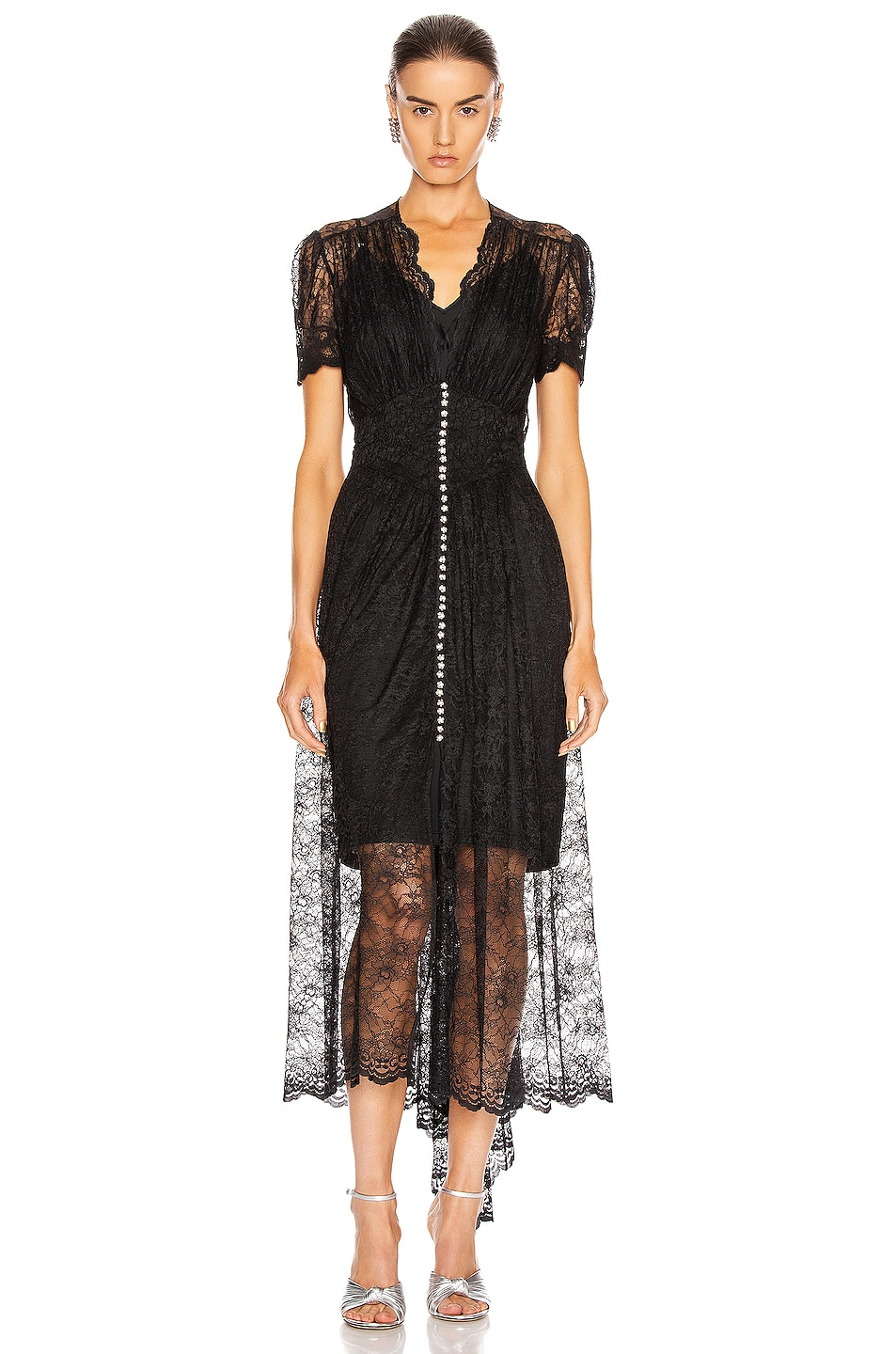 Image 2 of PACO RABANNE Lace Button Down Dress in Black