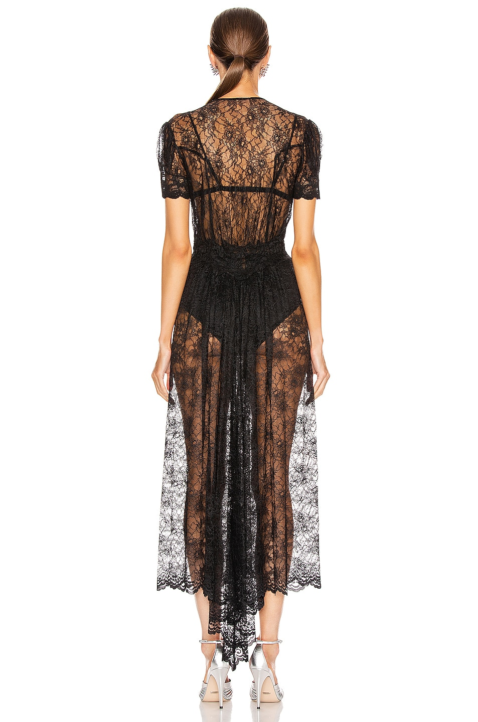 Image 4 of PACO RABANNE Lace Button Down Dress in Black