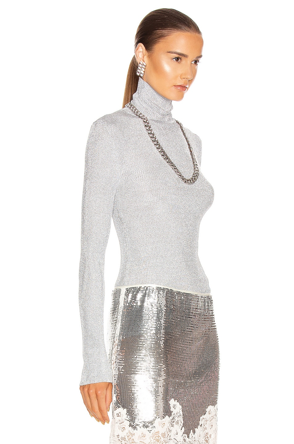Image 2 of PACO RABANNE Knit Turtleneck Top in Silver