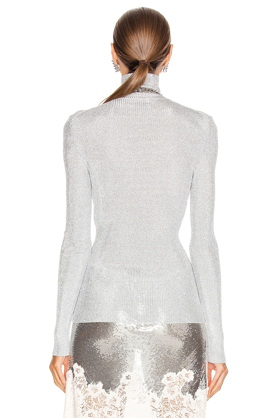 Image 3 of PACO RABANNE Knit Turtleneck Top in Silver