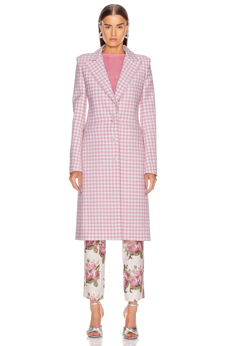 Image 2 of PACO RABANNE Plaid Check Coat in Pink Vichy